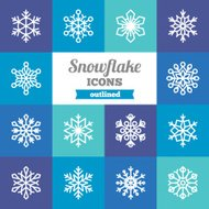 Set of flat outlined snowflake icons