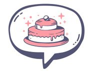 Vector illustration of bubble with icon of pink cake