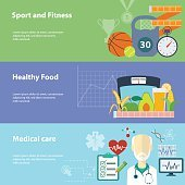 Healthy lifestyle flat banners set. Vector illustration