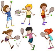 Male and female tennis players