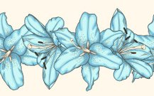 seamless horizontal frame element of blue lilies flowers
