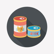 Pet cat food can flat icon with long shadow,eps10