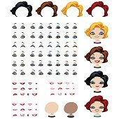 Fashion female avatars set of expressions