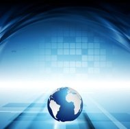 Blue motion technology background with waves and globe
