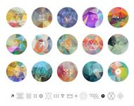Geometric hipster retro background, shapes and logotype.