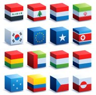 World Flag Cubes Three
