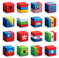 World Flag Cubes Four