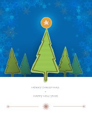 Christmas card design-pine tree paper torn with space for text