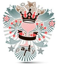 Joyful holiday background with stylized 3d monarch crown
