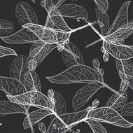 Leaves contours on black background. floral seamless pattern, ha