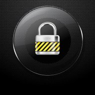 Metal background with glass LOCK button