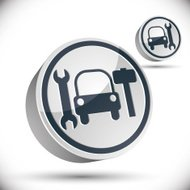 Car repair 3d vector icon.