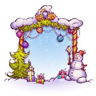 Vector illustration of Christmas Gate with snowman ant fir-tree