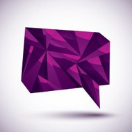Violet speech bubble geometric icon made in 3d modern style