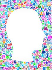 man Face on Modern Technology & Communication Pattern Background