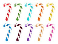 Set of colorful candy canes on white background.