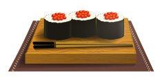 Wooden tray with sushi and chopsticks