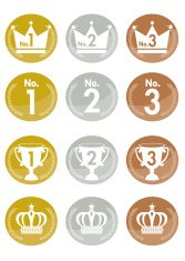 Gold Crown Icons, seals & medals Set   Vector