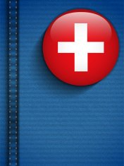 Switzerland Flag Button in Jeans Pocket