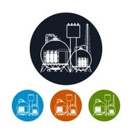 Icon of a chemical plant or refinery processing , vector illustr