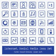 Internet Social Media - Icon Set - Hand Drawn
