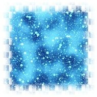 Abstract square blue snowflakes bounded background
