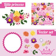 Set of pink floral elements with crown. Collect frame for