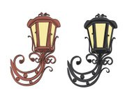 old black and brown vintage lamps - vector