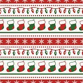 Christmas pattern with socks and garlands. Vector seamless background.