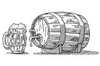 Beer Glass And Barrel With Tap Drawing