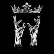 hands reaching for crown