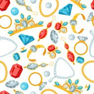 Seamless pattern with beautiful jewelry and precious stones.