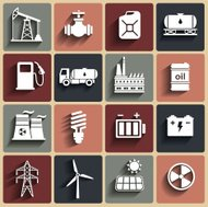 Energy, electricity, power icon set with shadows