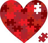 Heart jigsaw puzzle in vector format.