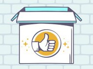 Vector illustration of open box with icon of  thumb up