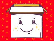 Vector illustration of open box with icon of  smile