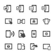 communication of smart phone and tablet device icon set, vector