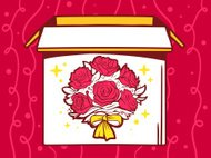 Vector illustration of open box with icon bouquet of flowers