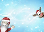 Santa and Reindeer Happy Christmas Feeling Cartoon