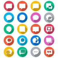 Speech bubble flat color icons