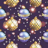 New Year pattern with ball. Christmas wallpaper