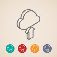 cloud with upload arrow. isometric vector icons