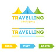 Vector modern bright flat travel company tent logo with identity