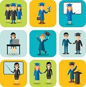 Flat design learning concept for education with graduates, teachers