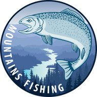 Vector fishing emblem with salmon fish and river in forest