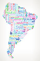 South America Map On International New Year Wordcloud Pattern
