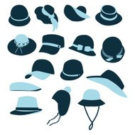 Icon Set vector of Hats Black Silhouette-illustration