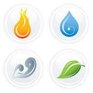 Four Elements on White Icons