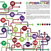 Bright infographic arrows in vector format.