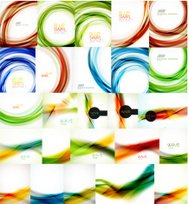 Set of vector blurred wave abstract backgrounds